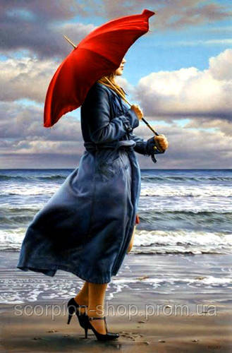 Картина по номерам «Девушка у моря под зонтом» (30*40 см)