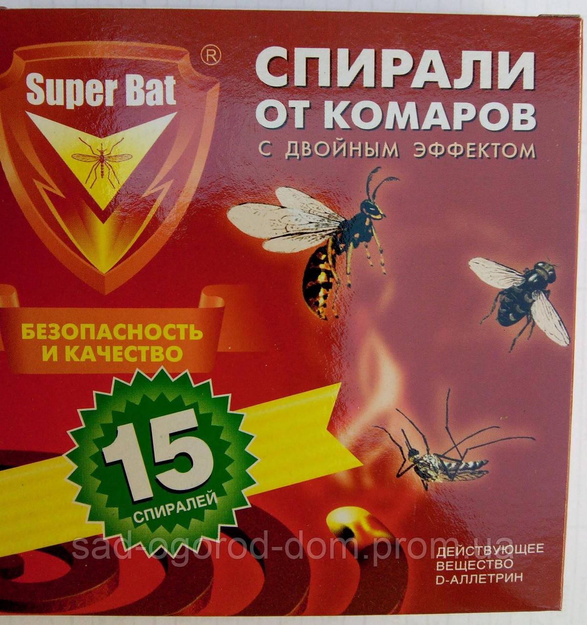 Спираль от комаров с двойным эффектом SUPER BAT 15шт.