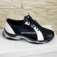 Стильные мужские кожаные кроссовки на шнуровке