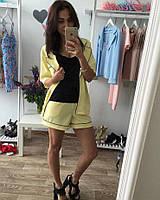 Женский костюм 2-ка пиджак+шорты №7057 (р.42-48) желтый, фото 1