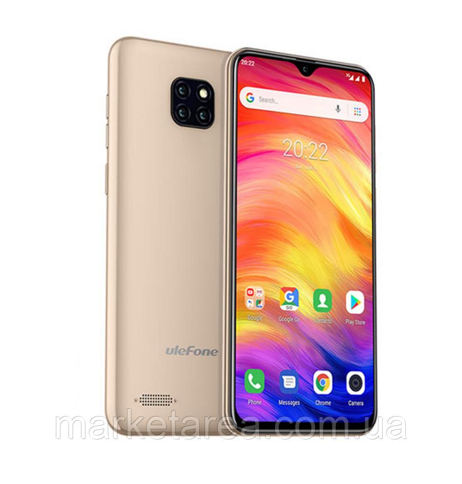 Смартфон улефон золотой с большим дисплеем и тремя камерами на 2 сим карты Ulefone Note 7 gold 1/16 гб