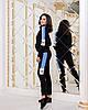 Женский спортивный костюм с лампасами:штаны и кофта на змейке с воротом стойкой, реплика Адидас, фото 5