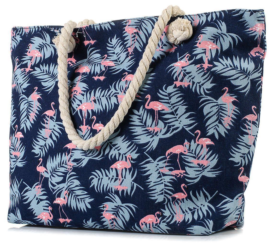 """Женская пляжная сумка с канатными ручками синяя BR-S """"Фламинго"""" (970243955)"""