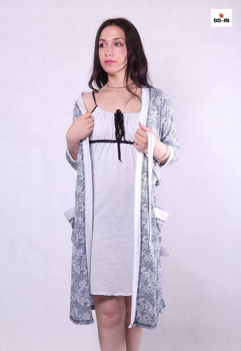 Комплект женский домашний халат и ночная р.42-54