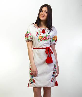 """Платье женское вышитое """"Диана"""" лен на короткий рукав"""