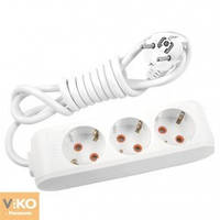 Удлинитель на 3 гнезда с заземлением - 3м кабель Viko 90114303