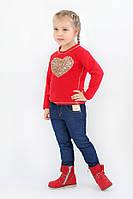 Детские джинсы для девочки с вставками из золотистой кожи (от 3-х до 7-ми лет.) (КАР 03-00548-1)
