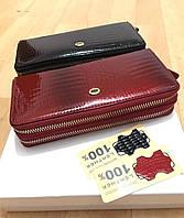 Женский кожаный кошелек клатч на две молнии ST лаковый, фото 1