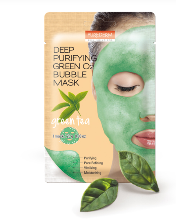 Purederm Deep Purifying Green O2 Bubble Mask Green Tea