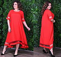 Платье свободного кроя с рукавчиком 2/4. Красное, 4 цвета. Р-ры: от 46 до 60.