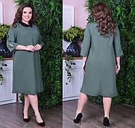 Платье с воротничком. Хаки, 2 цвета. Р-ры: от 46 до 60.