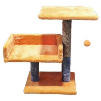 Дряпка с диваном и полкой для котов Пушистик, рыжая с серым, 55 см