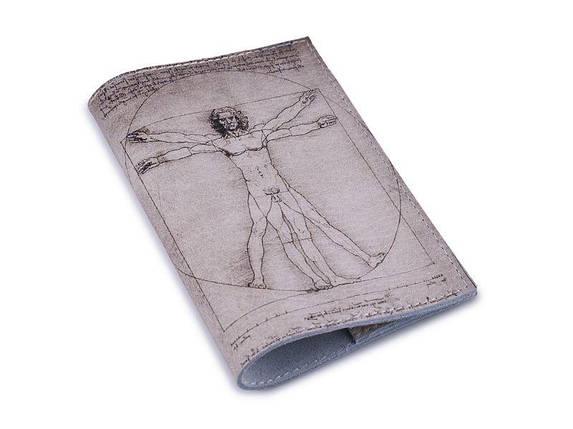 Кожаная обложка для паспорта -Витрувианский Человек- Натуральная кожа (Шкіряна обкладинка для паспор, фото 2