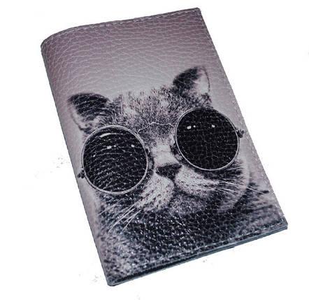 Кожаная обложка для паспорта с котом -Крутой кот-, фото 2