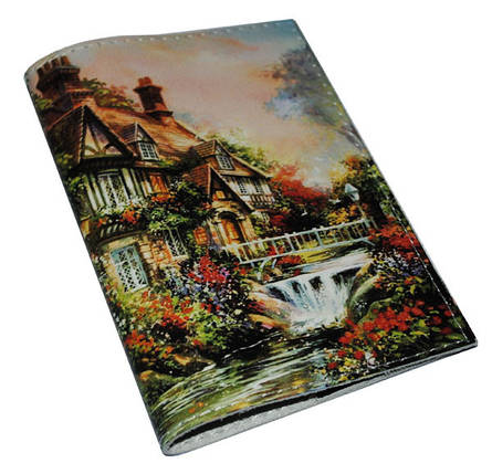 Кожаная женская обложка для паспорта -Сказочный домик-, фото 2