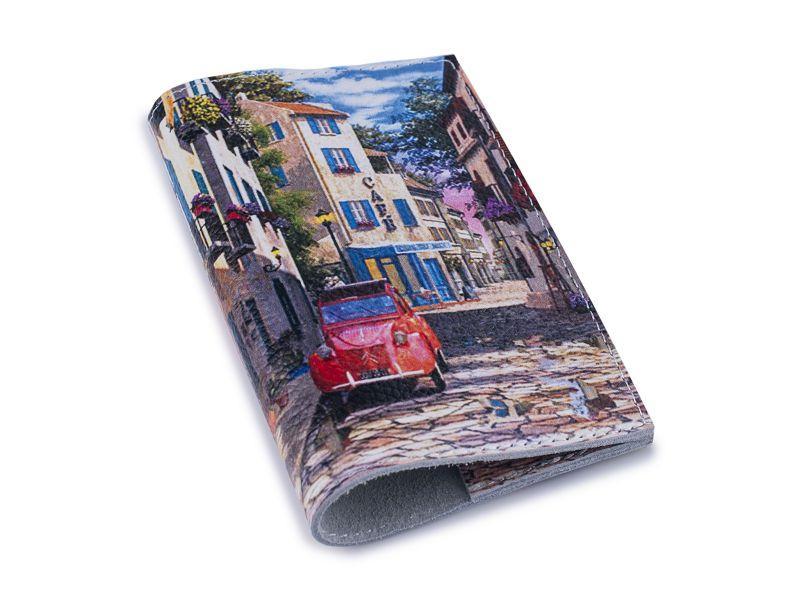 Кожаная обложка для паспорта/загранпаспорта -Авто в уютном дворике-