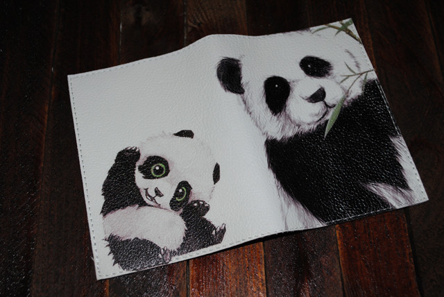 Кожаная обложка для паспорта -Панда- Натуральная кожа (Шкіряна обкладинка для паспор