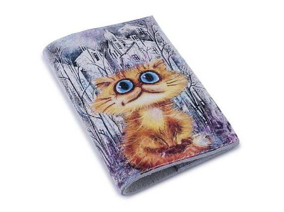 Кожаная обложка для паспорта - Рыжий кот в городе-, фото 2