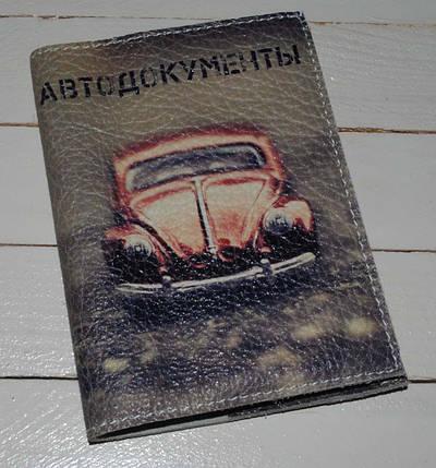 Обложка для водительских прав, Документов, Автоправ, с принтом -Машинка Жук- Натуральная замша, кожа/, фото 2