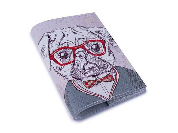 Обкладинка для паспорта -Мопс в окулярах-Шкіряна - Натуральна шкіра (Шкіряна обкладинка для паспор, фото 2