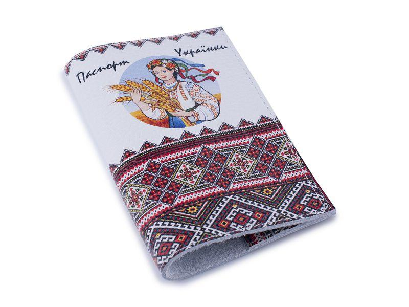 Прикольная обложка для паспорта кожа -Паспорт украинки- Натуральная кожа (Шкіряна обкладинка для паспор