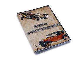 Обложка для водительских прав, Документов, Автодокументов, с принтом-Ретро- Натуральная замша, кожа/ Обкладинка для Автоправ