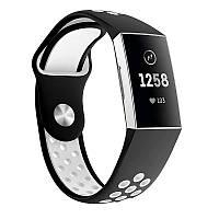 Силиконовый ремешок с перфорацией для фитнес браслета Fitbit Charge 3 / 4 - Black&White