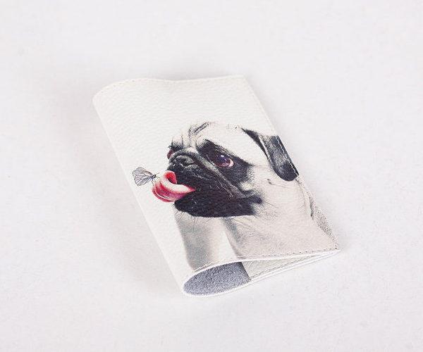 Кожаная обложка для паспорта -Мопс и бабочка- Натуральная кожа (Шкіряна обкладинка для паспор