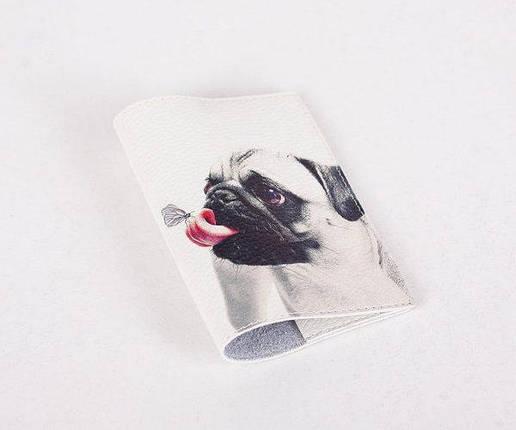 Кожаная обложка для паспорта -Мопс и бабочка- Натуральная кожа (Шкіряна обкладинка для паспор, фото 2