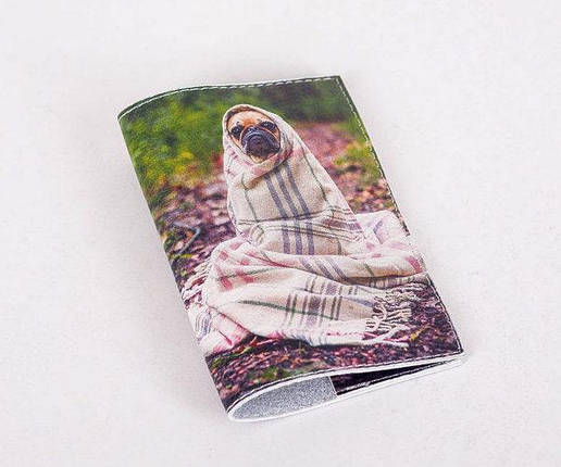 Кожаная обложка для паспорта -Собака в пледе- Натуральная кожа (Шкіряна обкладинка для паспор, фото 2