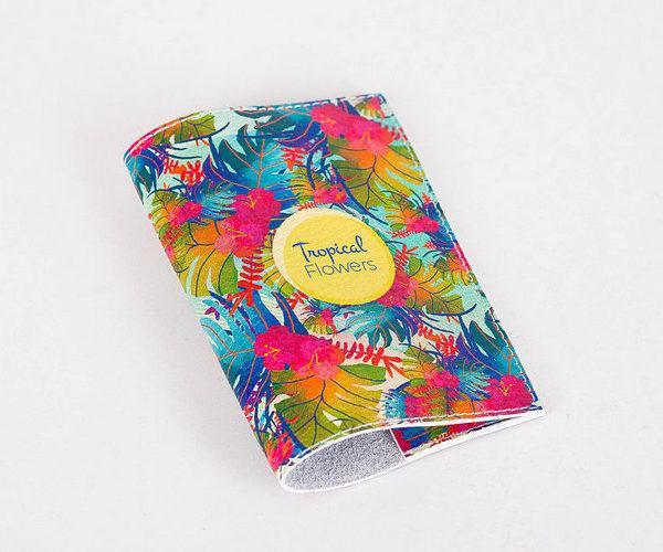 Кожаная обложка для паспорта -Tropical Flowers- Натуральная кожа (Шкіряна обкладинка для паспор