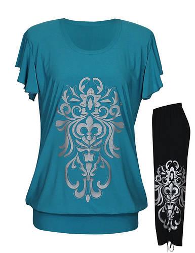 Летний костюм Анжелика - футболка-туника + капри-затяжки