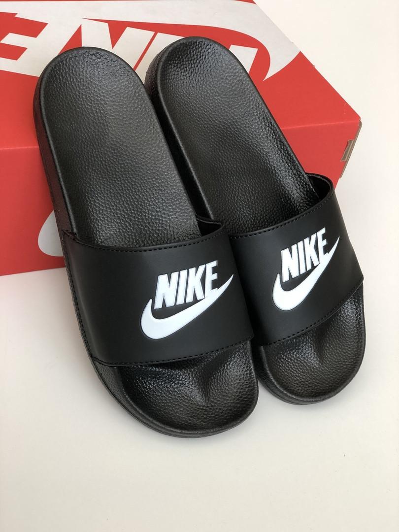 5e267781 Мужские шлепанцы Nike Black White (сланцы найк, черные / белые) -