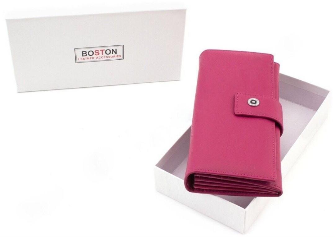 Женские кошелек из натуральной кожи с фиксацией на кнопку BOSTON
