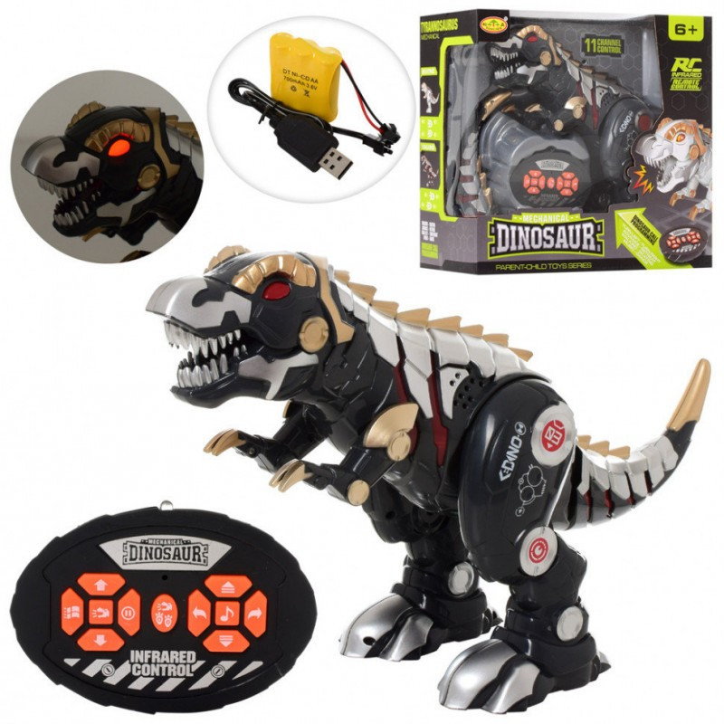 Динозавр SS858 Серый , 43см, звук, свет, ходит, танцует,USB зарядка