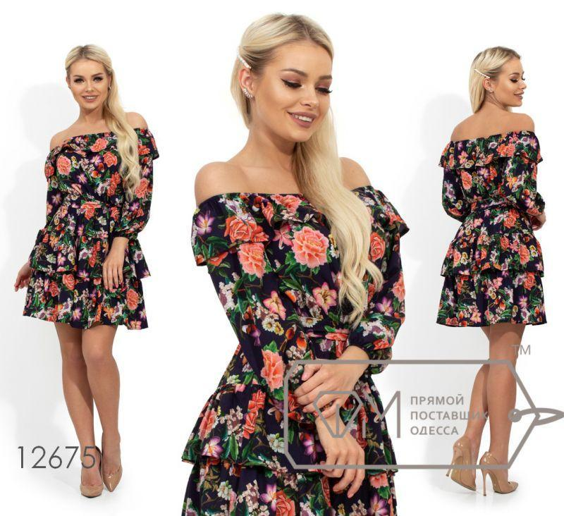 Платье летнее с оборками и открытыми плечами S M L XL