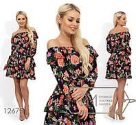 Платье летнее с оборками и открытыми плечами S M L XL, фото 1