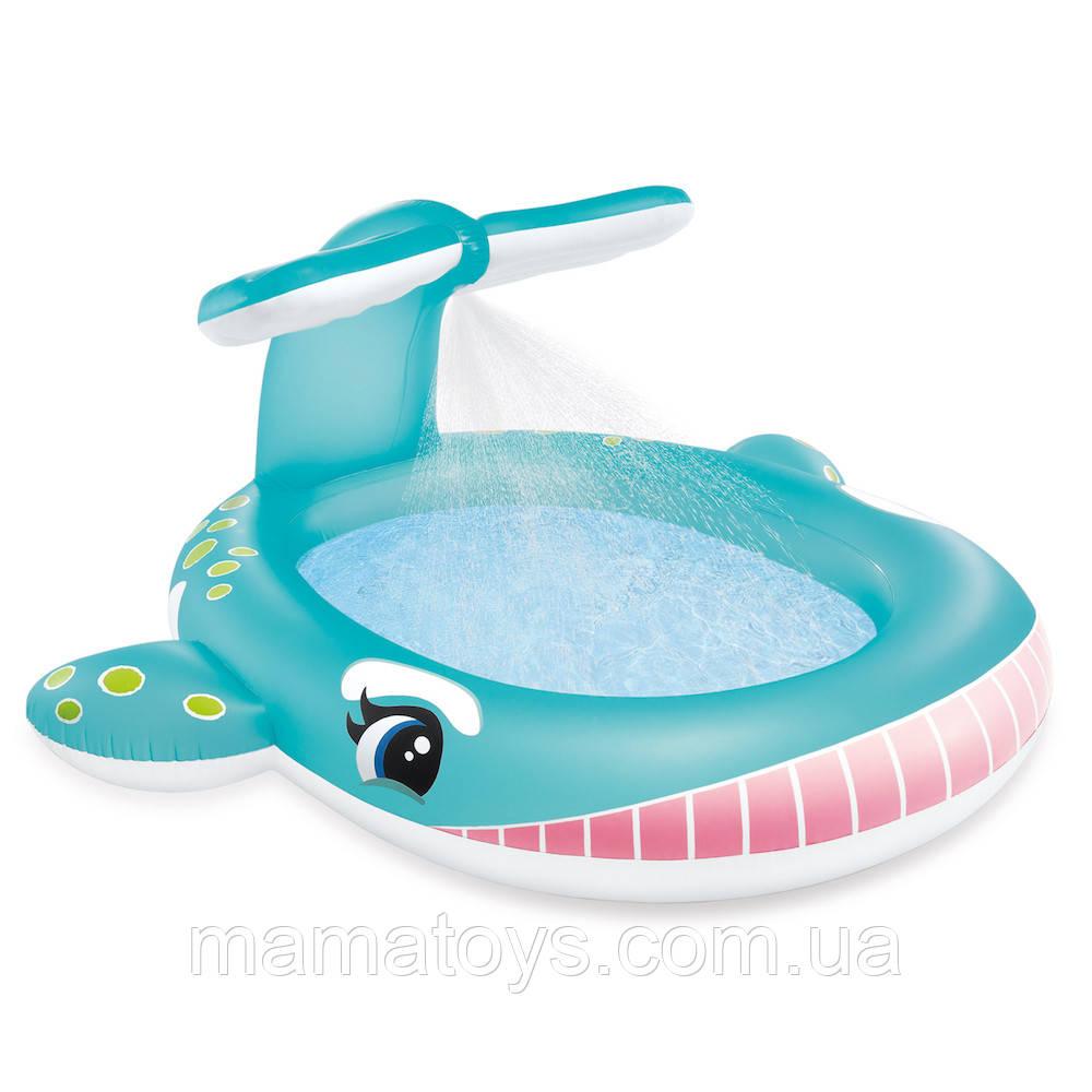Дитячий надувний басейн 57440 intex Кіт, з розпилювачем, розмір 201 х 96 х 91 см, 200 літрів