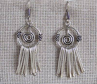 """Серьги  с подвесками """"Спираль"""" из белого металла. Серьги в этническом стиле"""