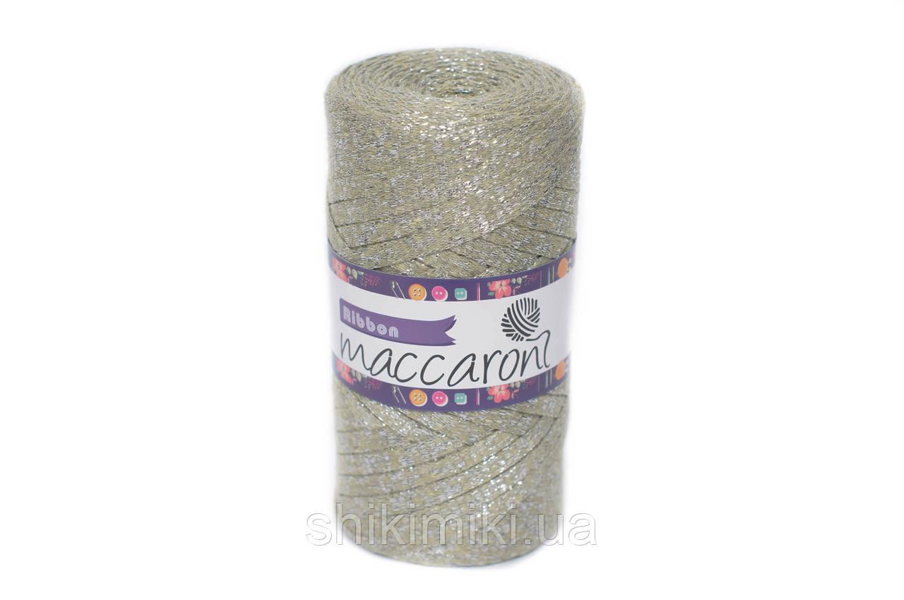 Трикотажный плоский шнур Ribbon Glitter, цвет Оливковый