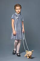 Детское платье нарядное бархат серое (арт:К03-00547-0) 128 Светло-серый