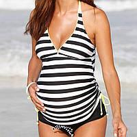 9075 Купить купальник для беременных женщин Черный в полоску