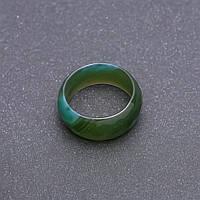 Кольцо из натурального камня зеленый Агат граненный h-9мм р-р17-20мм