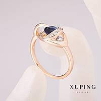 Кольцо Xuping с синим камнем 10х13мм позолота 18к р-р 17,18,19