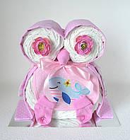 Сова з памперсів. Подарунок новонародженій дитині., фото 1