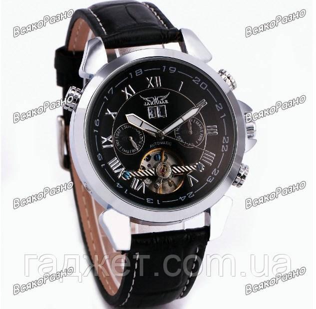 Мужские наручные часы скелетоны Jaragar Turboulion с автоподзаводом серебристые