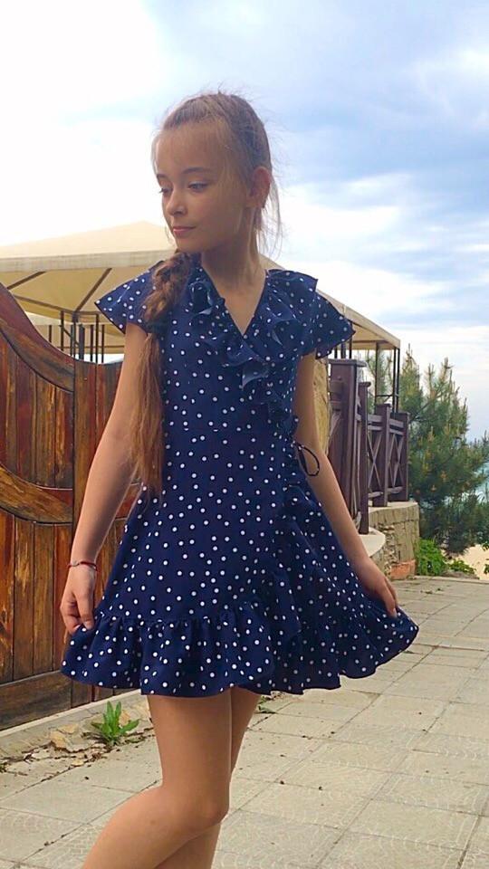 Платье детское на запах горох рост 134-152 см