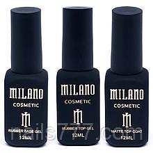 Milano Rubber Top (каучуковый топ) + Rubber Base (каучуковая база) + Matt Top ( матовый топ), 12мл