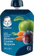 """Gerber. Фруктово-овощное пюре """"Яблоко, слива, морковь"""" (мягкая пачка) 90г. 6 мес+ (345903)"""