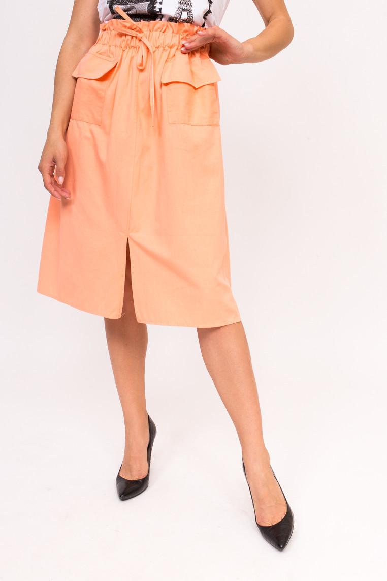 Стильная юбка с накладными карманами LUREX - персиковый цвет, L (есть размеры)